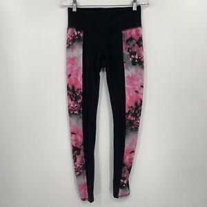 Athleta Women's Small Chaturanga Black Pink Floral Yoga Athletic Leggings