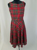 Queen of Holloway women L red plaid dress sleeveless fit & flare