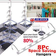 8x Space Saver Hanger Closet Organizer Storage Coat Clothes Magic Hook Metal UK