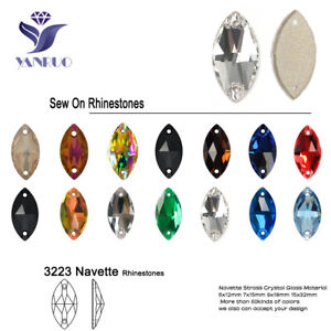 Navette Flat Back Glass Beads Sewing Strass Rhinestone Sew On Stones And Crystal
