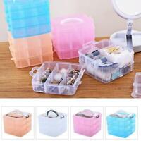 3 Layer Plastic Jewelry Bead Storage Box Container Case Organizer X6O6