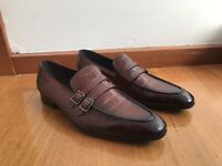 Mens Brown Leather Shoes (Italian Made, Real Leather)