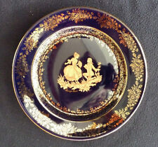 Limoges Fragonard Lovers 19 cm  Cabinet Plate Cobalt Blue / Gold France Castell