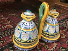 Handpainted Sole oil & Vinegar set -Deruta Italian Pottery Gialletti Giulio