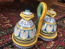 Handpainted Sole oil & Vinegar set -Deruta Italian Pottery Gialletti Giulio