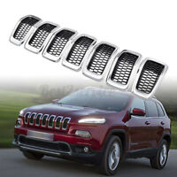 Replacement Grille Inserts Covers Fit For Jeep Cherokee Chrome Black 2014-2018