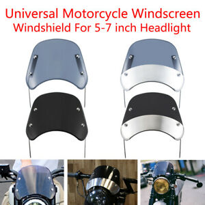 4 Types Motorcycle Black Windscreen Windshield For Universal 5-7 inch Headlights