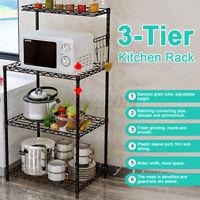 3 Tier Microwave Stand Kitchen Storage Rack Shelf Bakers Spice Metal Shelves US