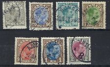 Denmark 1913-28 SG 160a, 161, 162, 163,165, 167 and 196.in total 7 FINE USED.