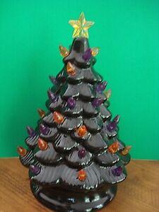 MR. CHRISTMAS CERAMIC TREE HALLOWEEN ORANGE PURPLE LIGHTS  BATTERY OPERATED NEW