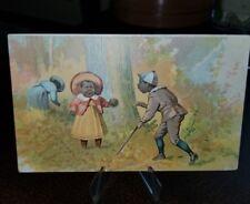 Vintage 1880s Trade Card - Black Americana Walter's Shoe Stores Cortland Ny