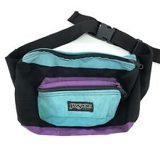 Vtg 90's JANSPORT Made in the USA Teal Purple Nylon Retro Waist Bag Fanny Pack