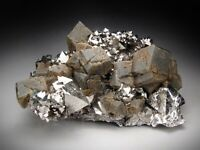 Siderite on Pyrite Crystals, Tazna, Bolivia