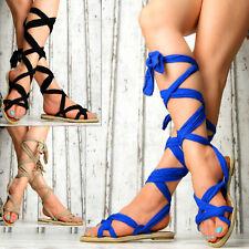 NEU Damen Schuhe Sommer Sandalen Riemchen Gladiator Schnürer Party Blau Beige