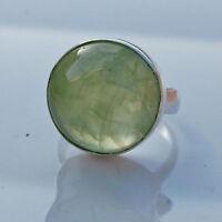 Fine Natural Round Prehnite Gemstone 925 Sterling Silver Handmade Ring Size 7