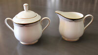 LENOX ERICA DEBUT COLLECTION FINE BONE CHINA CREAM AND SUGAR BOWL WITH LID