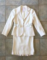 Rebecca Taylor Size 0 Two Piece Skirt Suit Star Embellished Sparkle Cream Wool