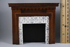 Dollhouse Miniature Fireplace styrene wood paper 'tile' pre-owned