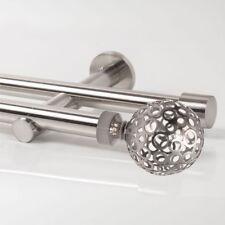 110 - 600cm Gardinenstange Neu zweiläufig Edelstahl Design 20mm Struktur Kugel
