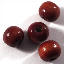 Lot de 50 perles rondes en Bois 10mm Rouge brique
