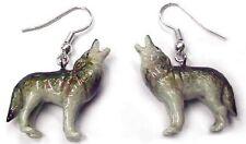 JE016 - Wolf Earrings - Surgical Steel Porcelain Dangle - little Critterz
