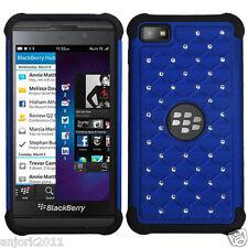 BlackBerry Z10 Laguna Spot Diamond Hybrid Case Skin Cover Blue Black