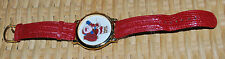 Christmas Santa Claus Wristwatch Red Strap Holiday Costume Jewelry Watch Vintage