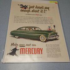 New listing 1948 Mercury PRINT AD features '49 model green four door hardtop Man Cave Art