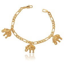 Cute Elephant Charms Bracelet 18K Gold Plated Figaro Chain Africa Animal Jewelry