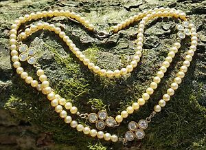1 Strand glass pearl necklace Champagne Diamonte Set Detail Vintage