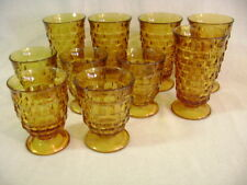 Indiana Glass Whitehall Amber  Footed Iced Tea Tumblers & Goblets. Lot of 10