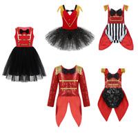 Sequins Kid Girls Circus Ringmaster Tutu Dress Party Coat Cosplay Romper Costume