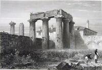 Greece TEMPLE OF APOLLO RUINS ANCIENT CORINTH ~ Antique 1827 Art Print Engraving