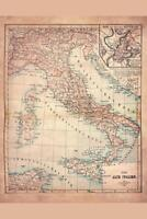 Old Italy 1883 Historical Antique Style Map Mural Poster 36x54 inch