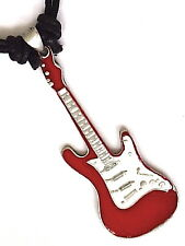 RED ELECTRIC GUITAR PEWTER PENDANT MENS BOYS NECKLACE   P0147