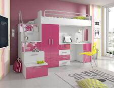 Doppelstockbett Etagenbett Doppelbett Jugend Bett Betten mit Schrank Tisch Neu