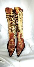 Preowned Gianmarco Lorenzi Fashion Cowgirl LIzard/Animal Print Boots Size 38/6.5