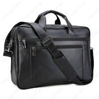 """Men Real Leather Briefcase Shoulder Messenger Bag 17"""" Laptop Bag Satchel Handbag"""