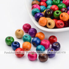 200Pcs Mixed Color Lightweight Dyed Round Wood Beads Jewelry 9x10mm, Hole: 3.5mm