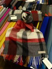 100% Lambswool Wide Scarf   Lochcarron   Made in Scotland   Flisk Red   Modern
