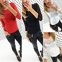 donna pizzo a Uncinetto Crochet t-shirt maglia casual manica lunga slim camicie
