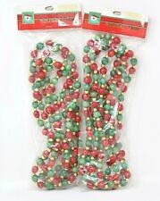 Vintage Kurt Adler 2 Wood Bead Ball Christmas Garland New Sealed Red Green Gold