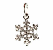 European 925 Silver Snowflake CZ Charm Beads Fit sterling Necklace Bracelet A#91