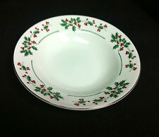 Gibson Holly Berries GID349 Soup Cereal Bowl(s) Broken Green inter band Gold Rim
