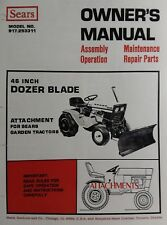 Sears Suburban 10/6 12/6 14/6 Garden Tractor 46 Dozer Blade Owner & Parts Manual