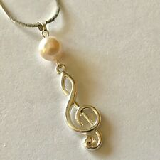"Silver Music Clef Note Pearl Necklace Musician Gift 18"" Plated"