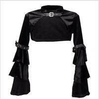 Women Patent Leather Jacket Steampunk Long Sleeve Bolero Shrug Coat Clubwear Hot