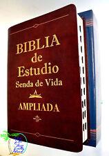 BIBLIA DE ESTUDIO SENDA DE VIDA  LETRA GRANDE PIEL CAFE INDICE REINA VALERA 1960
