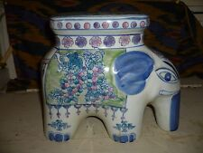 """VTG CHINESE CERAMIC ELEPHANT PLANT STAND NAIVE HAND PAINTED 9""""Hx10""""L MULTICOLOR"""