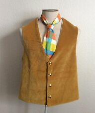 Men's L Seussical Costume Bright Yellow Velvet Vest Rainbow Tie Opera 19 Century